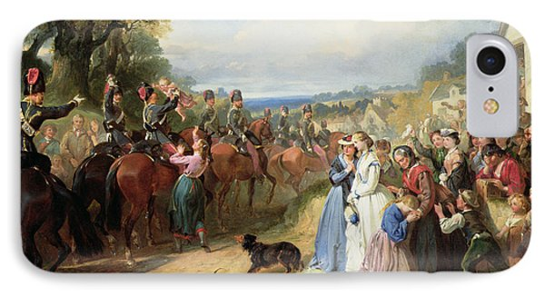 The Girls We Left Behind Us - The Departure Of The 11th Hussars For India Phone Case by Thomas Jones Barker