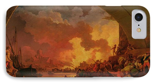 The Great Fire Of London IPhone Case by Philip James de Loutherbourg