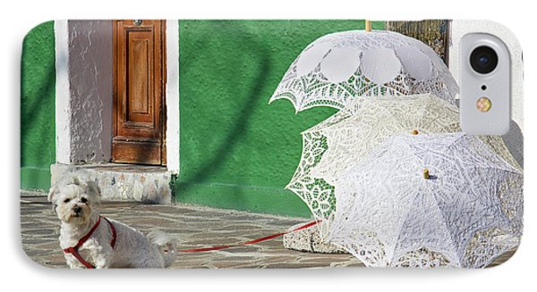 IPhone Case featuring the photograph The Guardian Of The Umbrellas. by Raffaella Lunelli