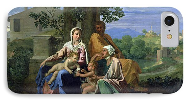 The Holy Family With Ss John Elizabeth And The Infant John The Baptist IPhone Case by Nicolas Poussin