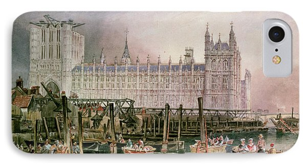 The Houses Of Parliament In Course Of Erection Phone Case by John Wilson Carmichael