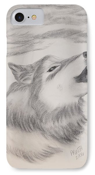 IPhone Case featuring the drawing The Howler by Maria Urso