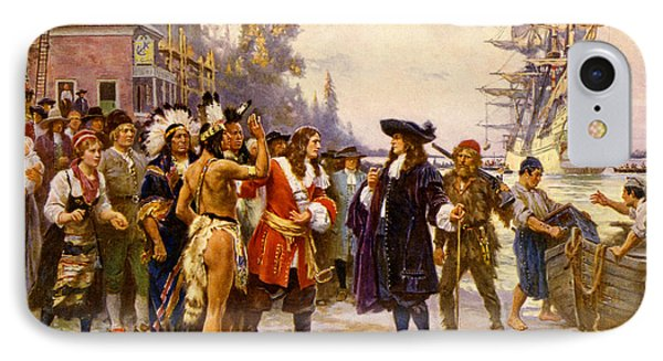 The Landing Of William Penn, 1682 Phone Case by Photo Researchers