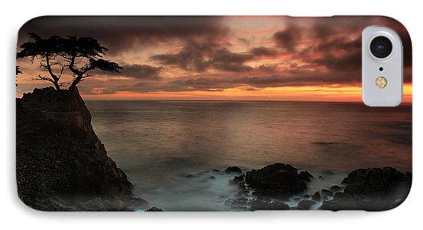 The Lone Cypress Observes A Pebble Beach Sunset Phone Case by Dave Sribnik
