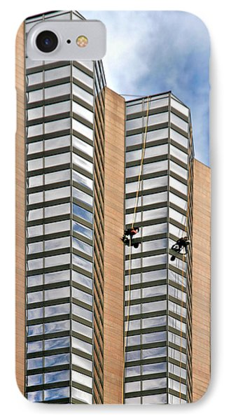 The Loneliness Of The Skyscraper Window Cleaner Phone Case by Christine Till