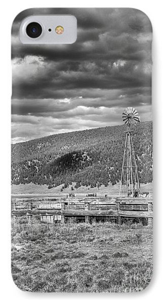 the lonly windmill in B and W IPhone Case