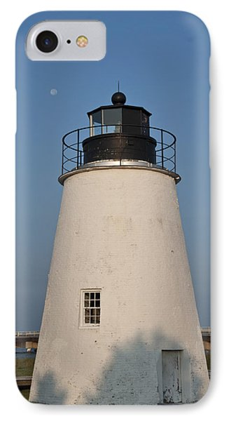 The Moon Behind The Piney Point Lighthouse Phone Case by Bill Cannon