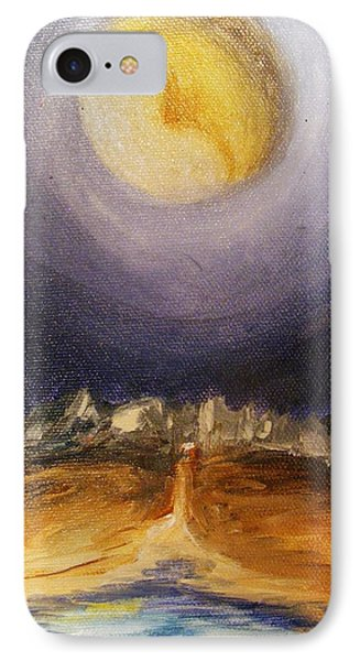 IPhone Case featuring the painting the Moon by Karen  Ferrand Carroll