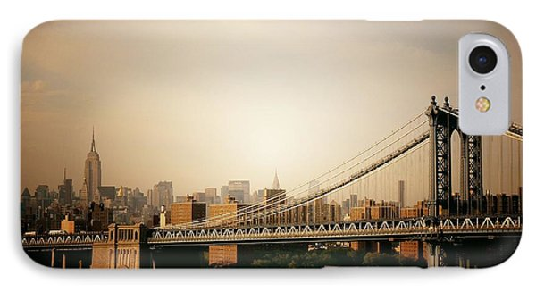 The New York City Skyline And Manhattan Bridge At Sunset Phone Case by Vivienne Gucwa