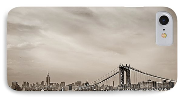 The New York City Skyline And The Manhattan Bridge Phone Case by Vivienne Gucwa