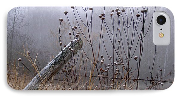 The Old Fence - Blue Misty Morning IPhone Case by Angie Rea