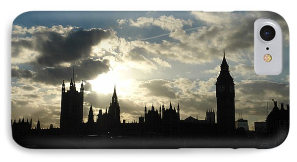 The Outline Of Big Ben And Westminster And Other Buildings At Sunset IPhone Case