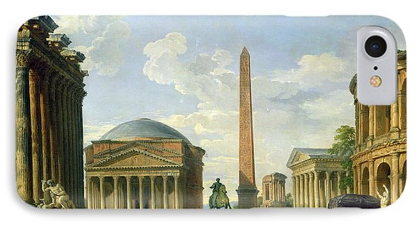 The Pantheon And Other Monuments 1735 Phone Case by Giovani Paolo Panini
