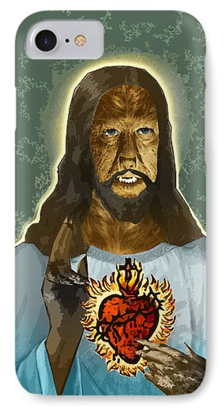 The Sacred Heart Of Wolfman Jesus Phone Case by Travis Burns