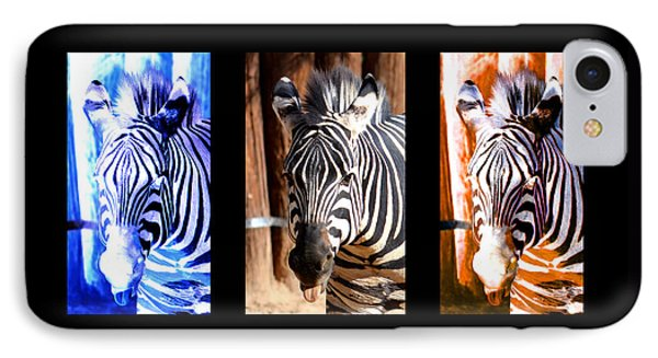 IPhone Case featuring the photograph The Three Zebras Black Borders by Rebecca Margraf