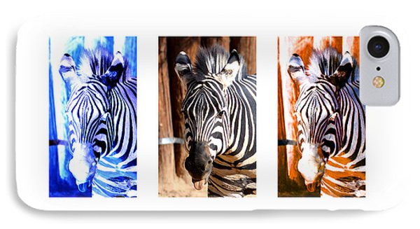 IPhone Case featuring the photograph The Three Zebras White Borders by Rebecca Margraf