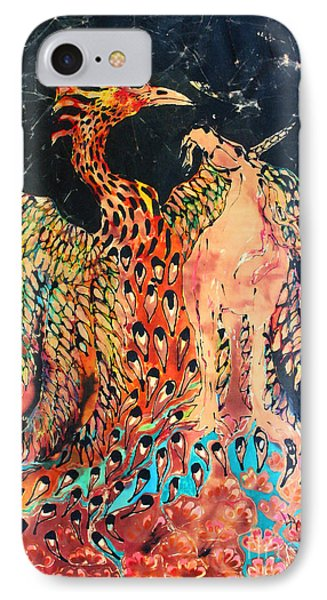The Unicorn And Phoenix Rise From The Earth Phone Case by Carol Law Conklin