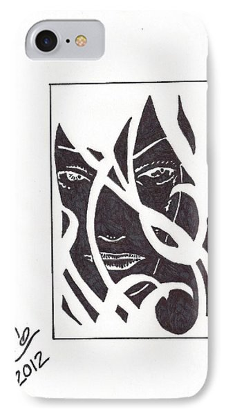 IPhone Case featuring the drawing The Unkown Woman by Jeremiah Colley