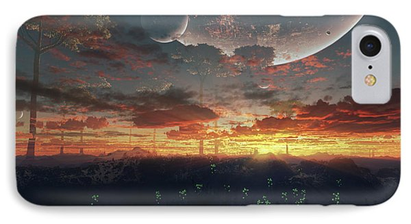 The View From An Alien Moon Towards Phone Case by Brian Christensen