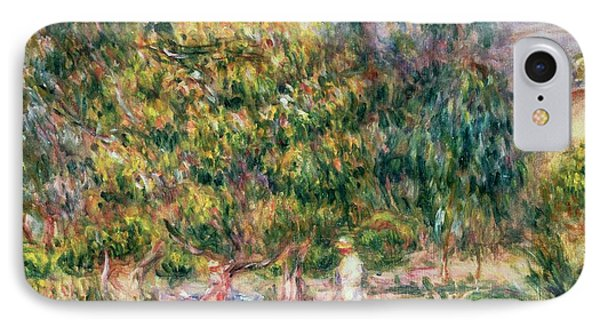 The Woman In White In The Garden Of Les Colettes IPhone Case by Pierre Auguste Renoir
