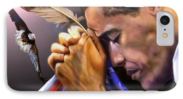 They Shall Mount Up With Wings Like Eagles -  President Obama  Phone Case by Reggie Duffie