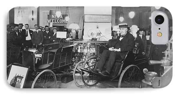 Thomas Edison In Quadricycle Phone Case by Photo Researchers