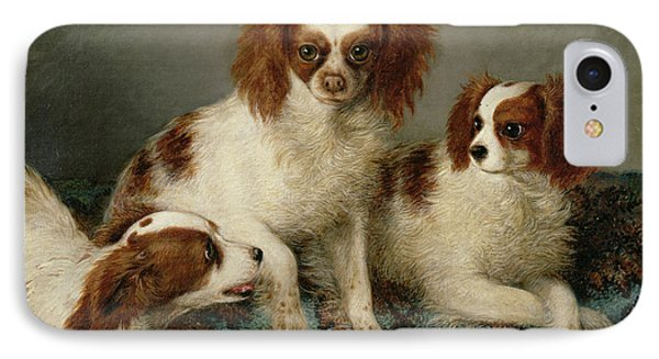 Three Cavalier King Charles Spaniels On A Rug Phone Case by English School