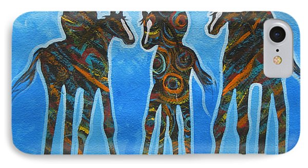 Three In The Blue Phone Case by Lance Headlee