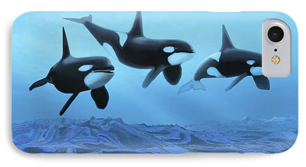 Three Male Killer Whales Swim Phone Case by Corey Ford