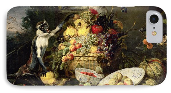 Three Monkeys Stealing Fruit IPhone Case by Frans Snyders