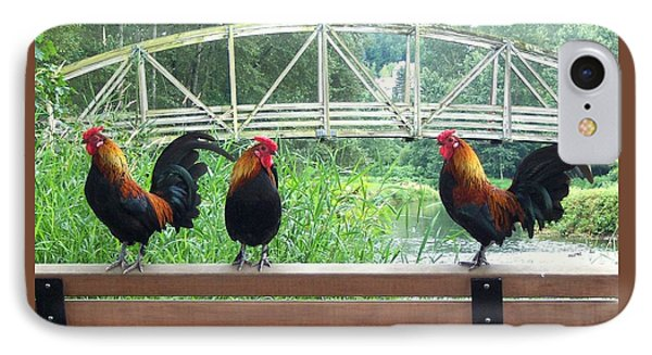 Three Roosters  IPhone Case by Peter Mooyman