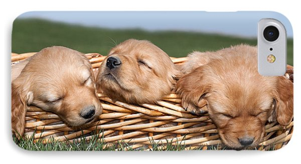 Three Sleeping Puppy Dogs In Basket Phone Case by Cindy Singleton