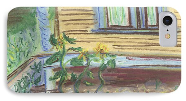 IPhone Case featuring the pastel Three Sunflowers By The Porch by Denny Morreale