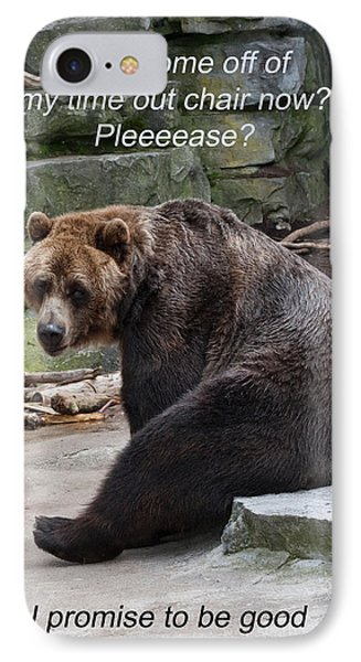 Time Out Bear IPhone Case by Cindy Haggerty