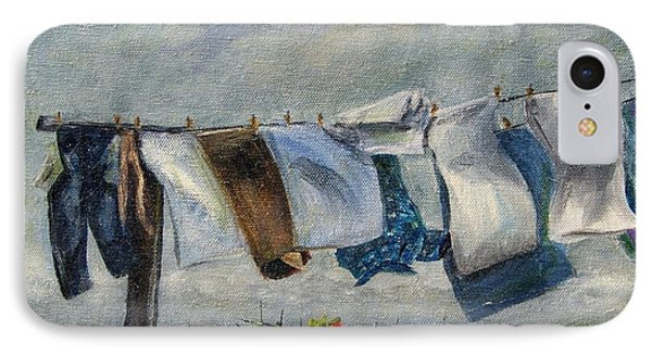 IPhone Case featuring the painting Time To Take In The Laundry by Terry Taylor