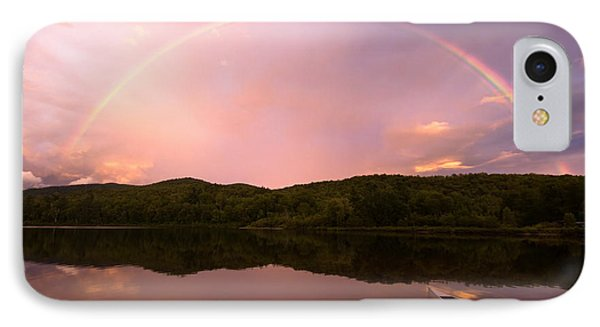 Timing Is Divine Rainbow Over Vermont Mountains Phone Case by Stephanie McDowell