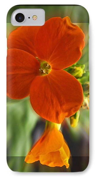 IPhone Case featuring the photograph Tiny Orange Flower by Debbie Portwood