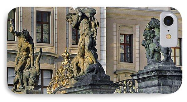 Titans Battling Outside Prague Castle Phone Case by Christine Till