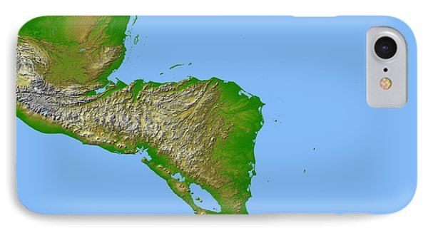 Topographic View Of Central America Phone Case by Stocktrek Images