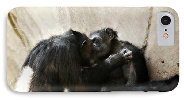 Touching Moment Gorillas Kissing Phone Case by Peggy Franz