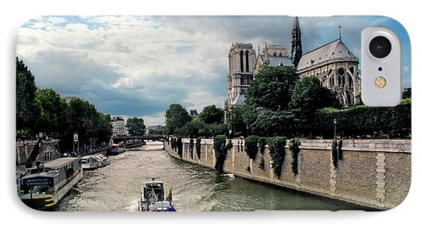 IPhone Case featuring the photograph Tour Boat Passing Notre Dame by Dave Mills