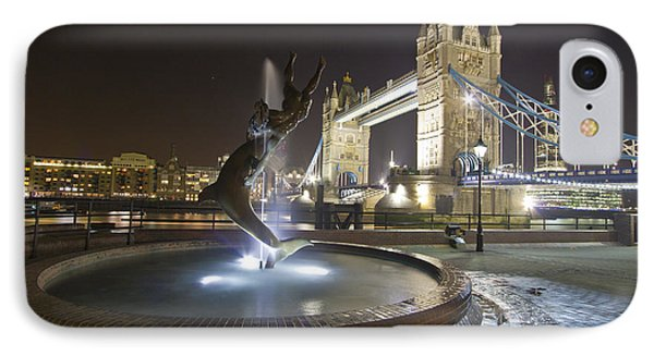 Tower Bridge Girl With A Dolphin IPhone Case by David French