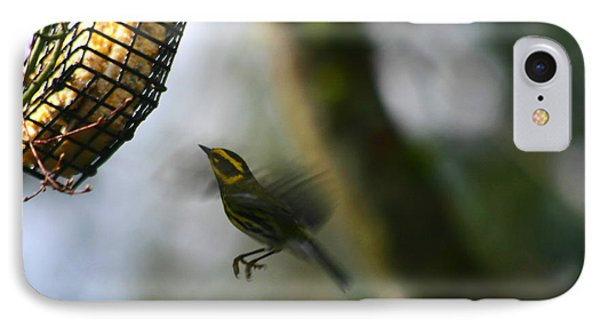 IPhone Case featuring the photograph Townsend Warbler In Flight by Kym Backland