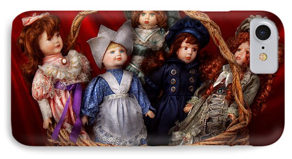 Toy - Dolls - A Basket Of Victorian Dolls  Phone Case by Mike Savad