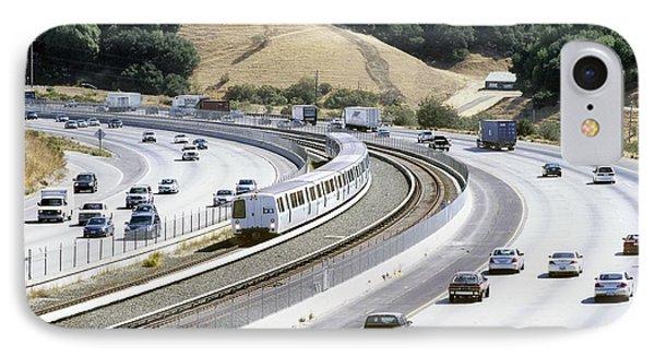Train And Motorway, California, Usa Phone Case by Martin Bond
