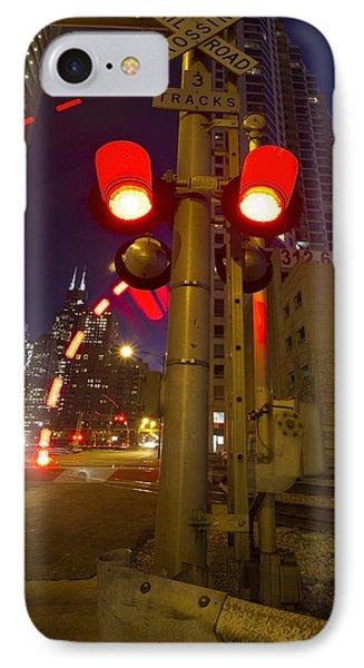 Train Crossing Lights At Dusk Phone Case by Sven Brogren