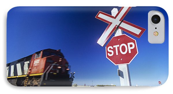 Train Passing Railway Crossing Phone Case by Dave Reede