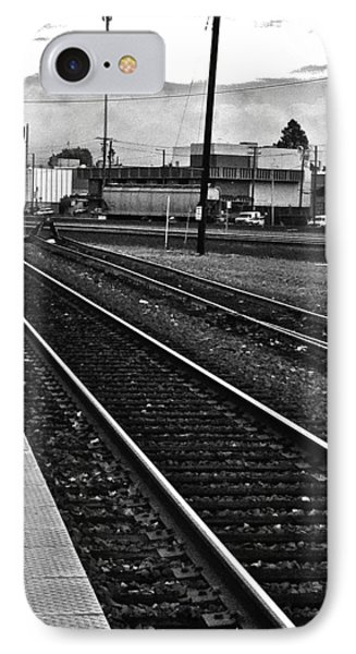 IPhone Case featuring the photograph train tracks - Black and White by Bill Owen