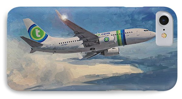 IPhone Case featuring the painting Transavia Boeing 737 No2 by Nop Briex