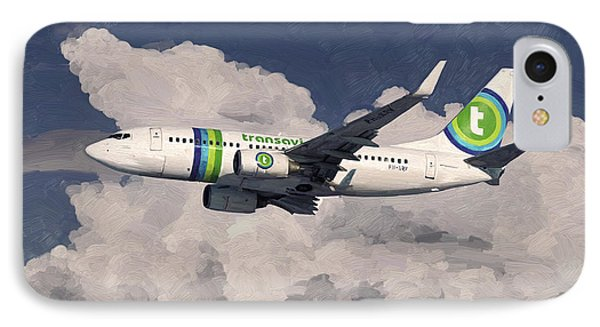 IPhone Case featuring the painting Transavia Boeing 737 by Nop Briex